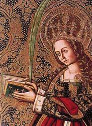 Santa Catalina con la hoja de palma y demás atributos simbólicos.