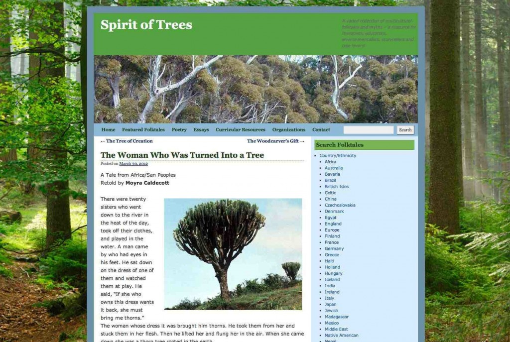"Captura de pantalla de la página web ""Spirit of Trees""."