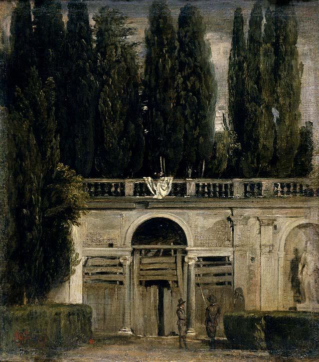 Vista del jardín de la villa Médicis en Roma, por Velázquez